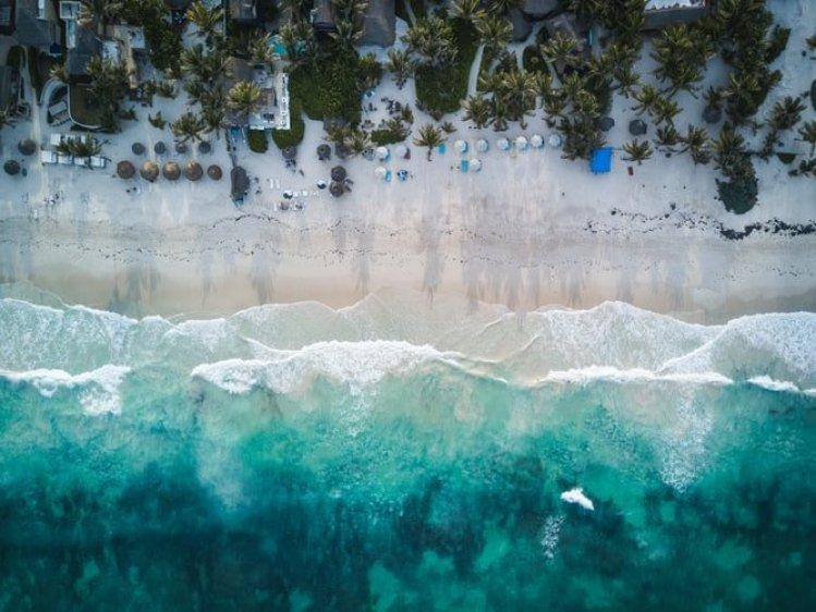 aerial view tulum mexico