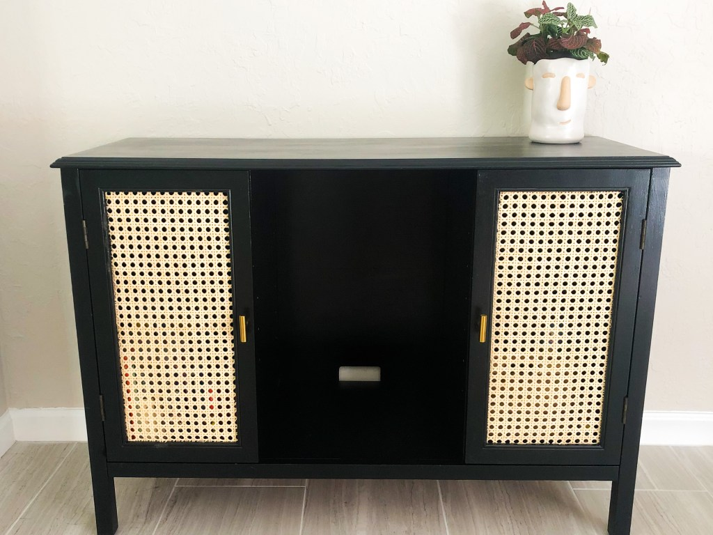 thrifted black credenza