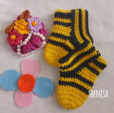 pola sepatu bayi rajut crochet