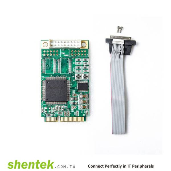 1 port Parallel Mini PCI Express card supports compatibility mode, Nibble mode, Byte mode, EPP mode, and ECP mode