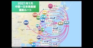 【2021年1月版】中国発着 国際便運航スケジュール・発着ルート