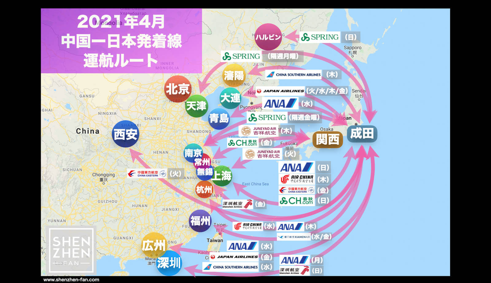 【2021年4月版】中国発着 国際便運航スケジュール・発着ルート