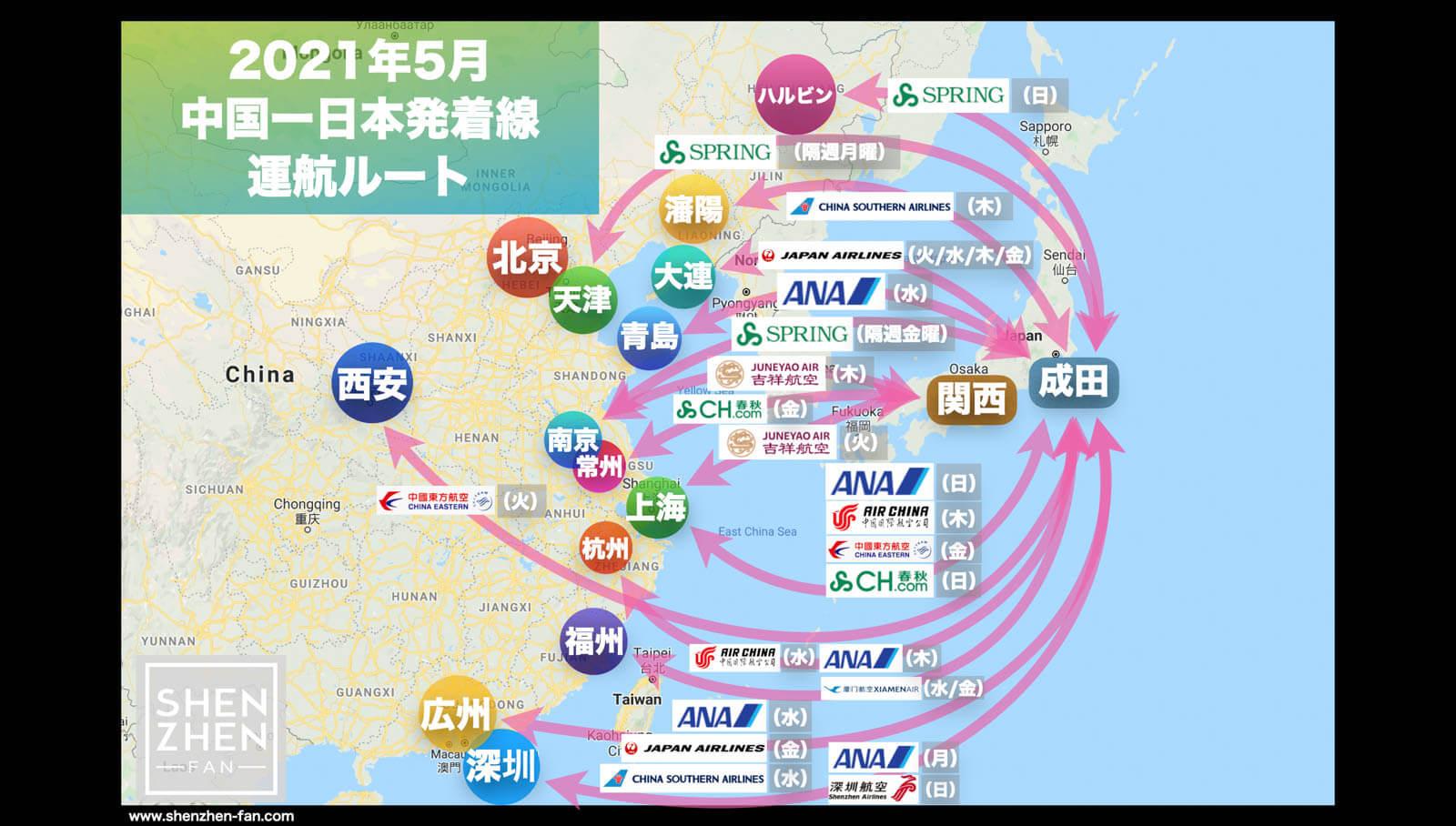 【2021年5月版】中国発着 国際便運航スケジュール・発着ルート