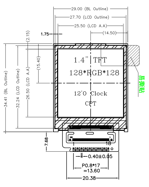 1.44 Inch 128x128 TFT Color LCD Display Module