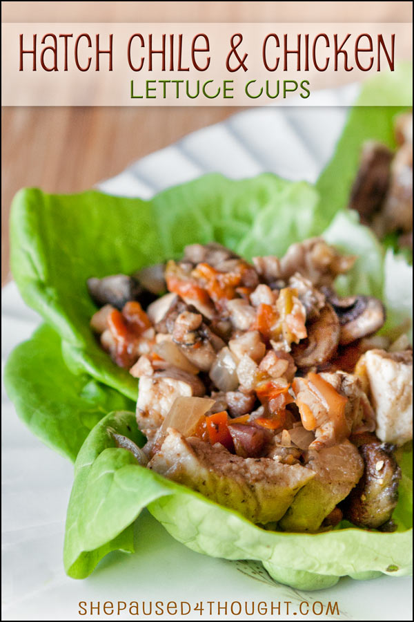 Hatch Chile & Chicken Lettuce Cups | She Paused 4 Thought