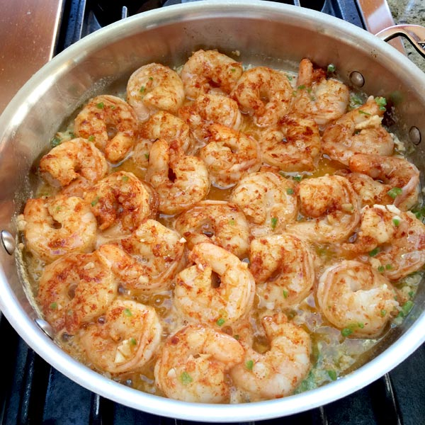 Shrimp cooking in pan recipe from Secrets of the Southern Table by Virginia Willis