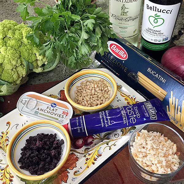 ingredients for Pasta with Cauliflower, Pine Nuts and Currants from Coming Home to Sicily Cookbook