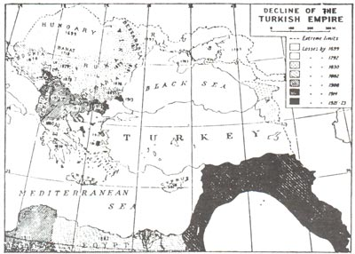 A map that shows the rise and decline of the Ottoman (Turkish) empire