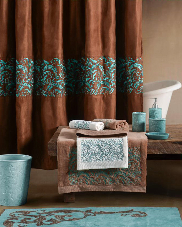 hiend accents brown wyatt scroll shower curtain