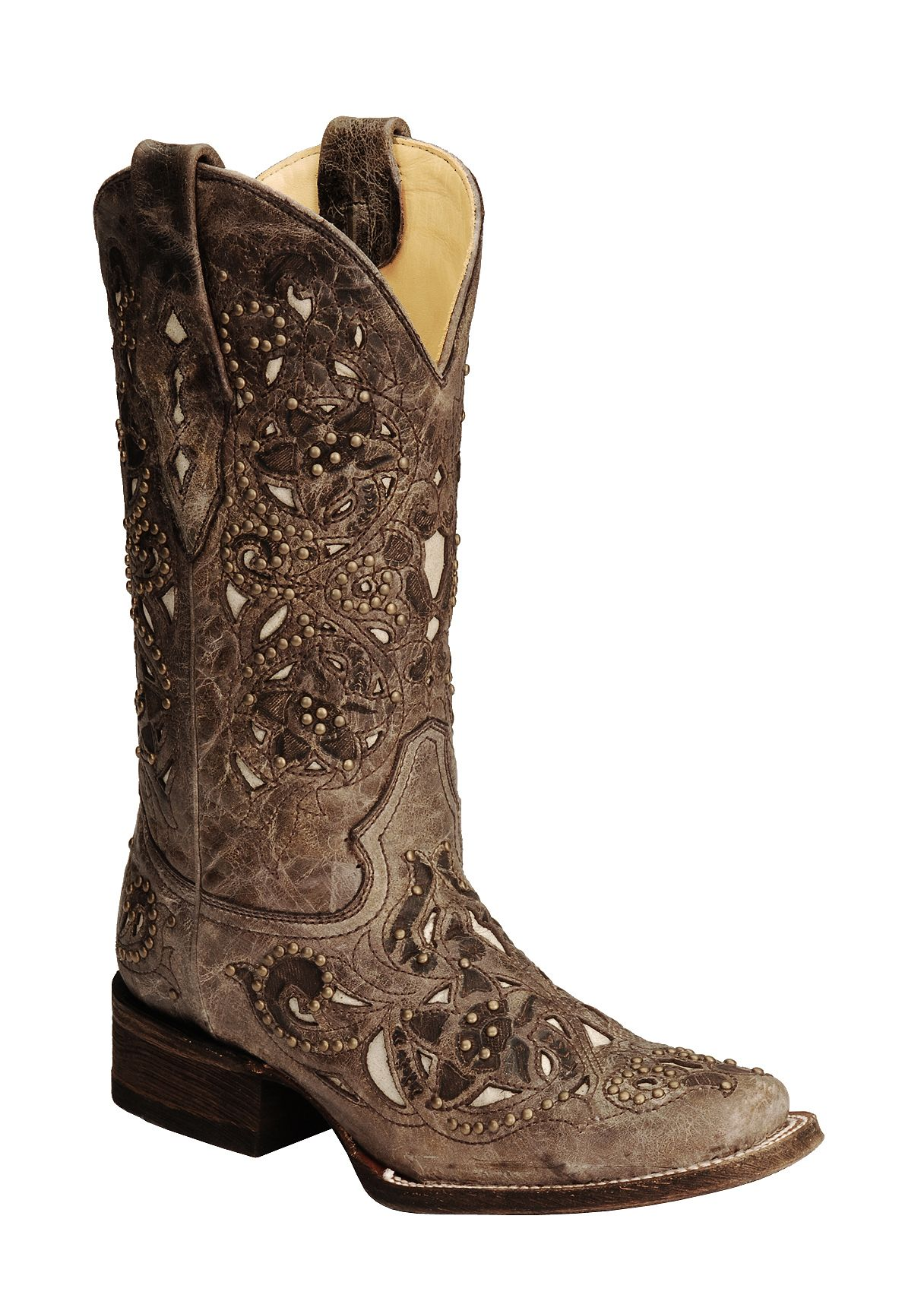 Corral Studded Bone Inlay Crater Cowgirl Boots  Square Toe  Sheplers