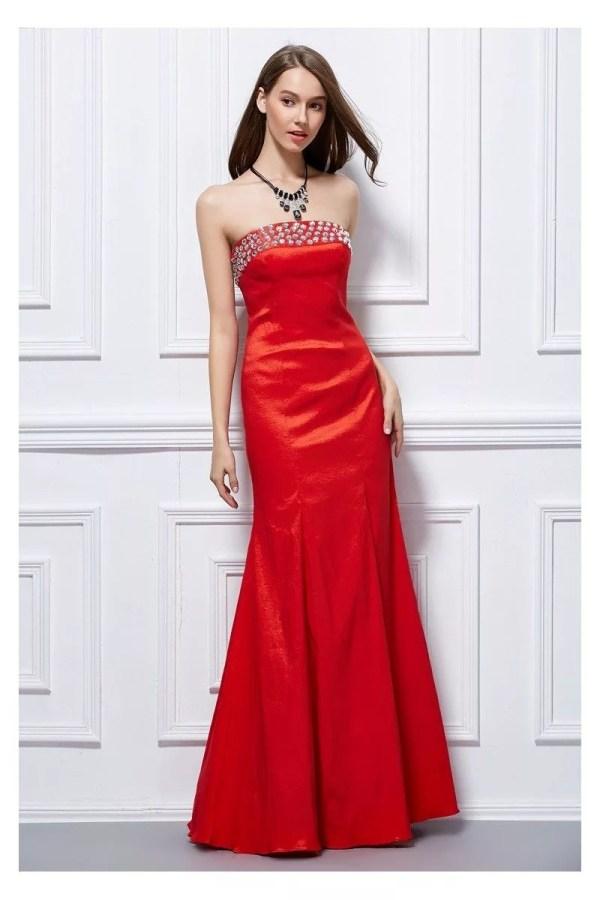 Beaded Strapless Taffeta Corset Back Prom Dress 95