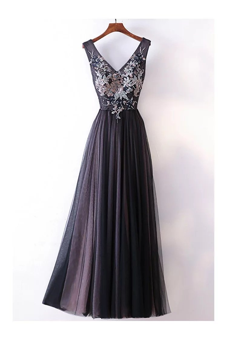 Different Long Black Vneck Cheap Prom Dress With Lace  118 MYX18216  ShePromcom