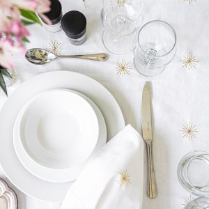 Sheraton Embroidered Starburst Tablecloth Gold - 2 Sizes