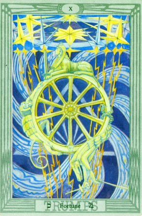 The Tarot card Fortune: the cosmic forces of becoming, being and passing.