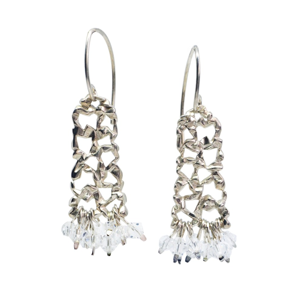 Sterling silver lace earrings
