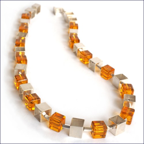 Citrine and silver Cubed Chain Choker