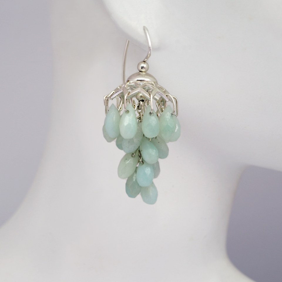 Sterling silver and amazonite cluster earrings