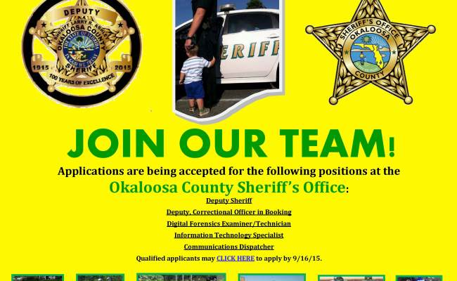 Join Our Team Ocso Job Openings Okaloosa County