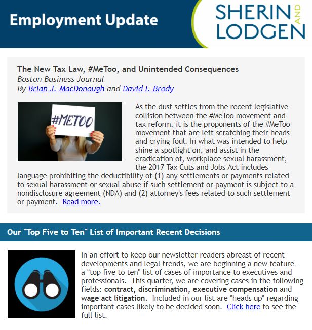 Employment Update: Tax Law and #MeToo. Employment Cases to Watch. What's Up with Sick Leave?   Sherin and Lodgen