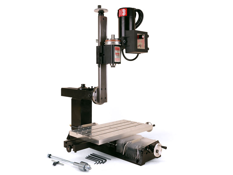 """5800 (5810)—Mill with 18"""" Base, 15"""" Extended Column Bed, 18"""" Extended Mill Table, Extra-rigid Column Base, 7"""" x 13"""" tooling plate, Y-axis Leadscrew Protection, drill chuck and adjustable zero handwheels"""