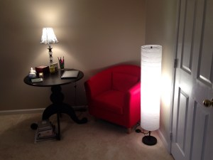 "Rearranged my bedroom and made a new ""sanctuary"" in the corner for reading and writing. I am in love with it!"