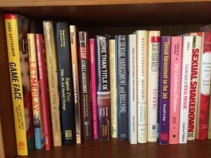 Some of the books on the shelves of Bernice Sandler, godmother of Title IX.