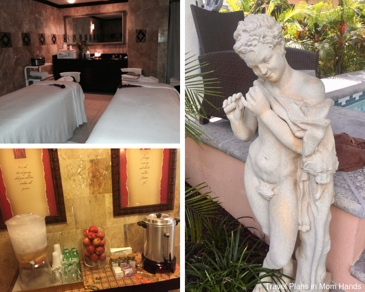 Collage of French Village's Red Lane Spa at Beaches Turks and Caicos including treatment room, drink bar, and decorative statue.