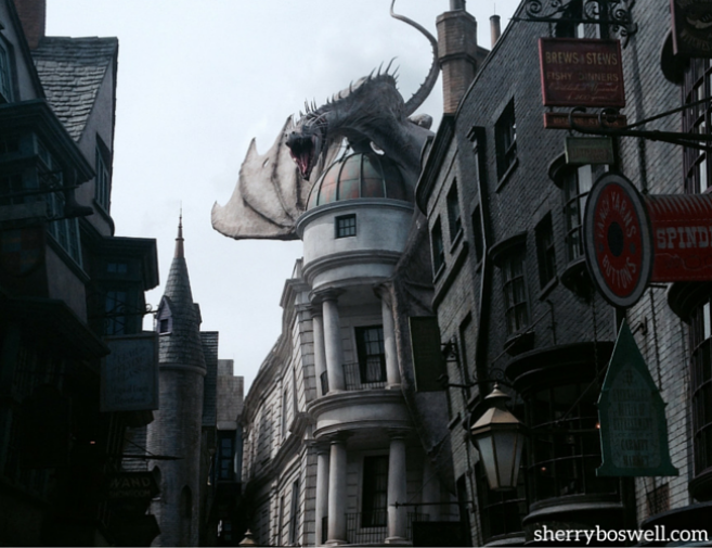 Universal Orlando's Wizarding World of Harry Potter tips include catching the fire breathing dragon at Diagon Alley