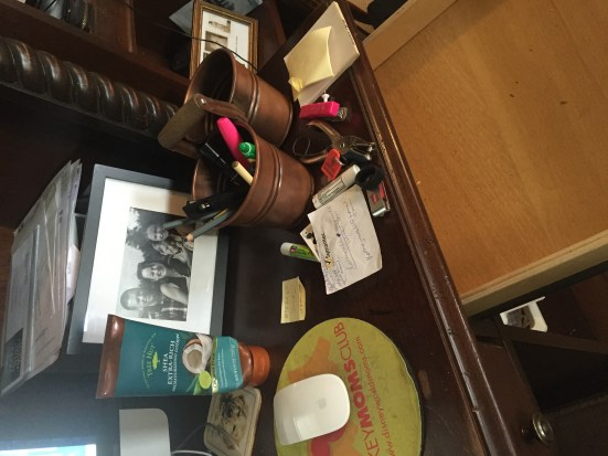"My desk before ""Tidying Up"" using the Kondo method and the organizing tips from Marie Kondo"