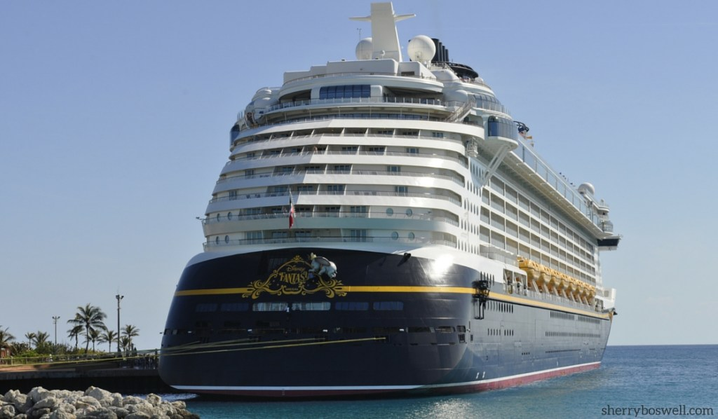 Disney Cruise advice | The majestic Disney Fantasy in port on Castaway Cay.
