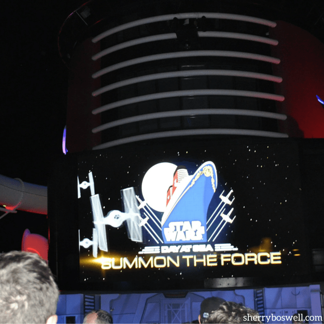 Star Wars Disney Cruise | Funnel Vision is center stage for the Summon the Force deck party on a Star Wars Day at Sea sailing