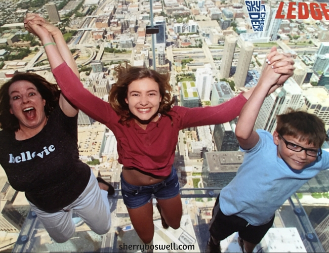 Chicago with Kids Teens Tweens | Might as well JUMP at Willis Tower SkyLedge Chicago...don't look down if you are afraid of heights like me!