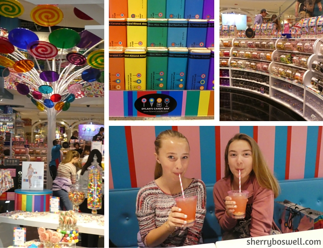 Chicago with Kids Teens Tweens | Collage of Dylan's Candy Bar: the cafe, cloud lemonade, and CANDY!