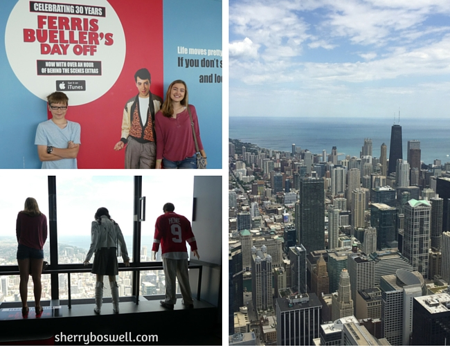 Chicago with Teens Tweens | Celebrating the 30th anniversary of Ferris Bueller at the Skydeck. Check out the mannequins of Ferris, Sloan, and Cameron looking down.
