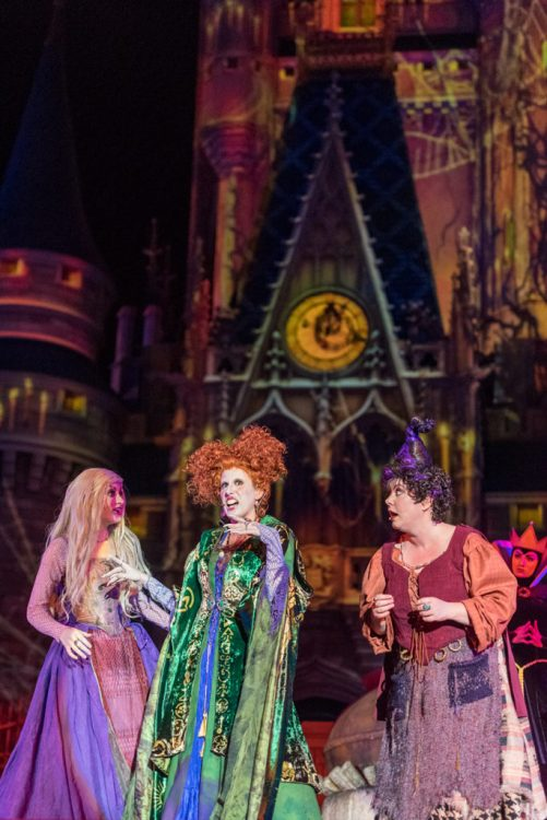 Who doesn't love Hocus Pocus? The Sanderson Sisters grace the stage at Mickey's Not So Scary Halloween Party, one of our biggest tips!