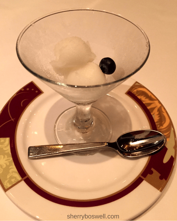 Disney Cruise Dining: Two Biggest Reasons to Try Palo | A lemon sorbet cleanses the palate before our entree service.