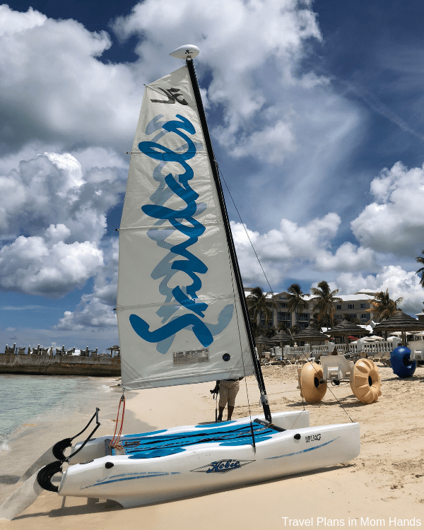 Hobie cats, paddleboards, and snorkeling, oh my: plenty of water sports included at the Sandals Royal Bahamian.
