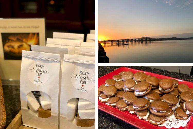 S'mores and whoopie pie sandwiches, some of the yummy treats at the Beaufort Inn during my 24 hours in Blissful Beaufort, SC.