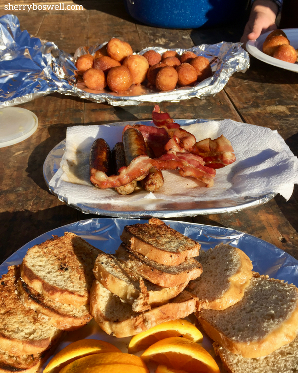 Breakfast chow at glamping site at Goosewing Ranch; one of many standouts for a glamping family vacation.