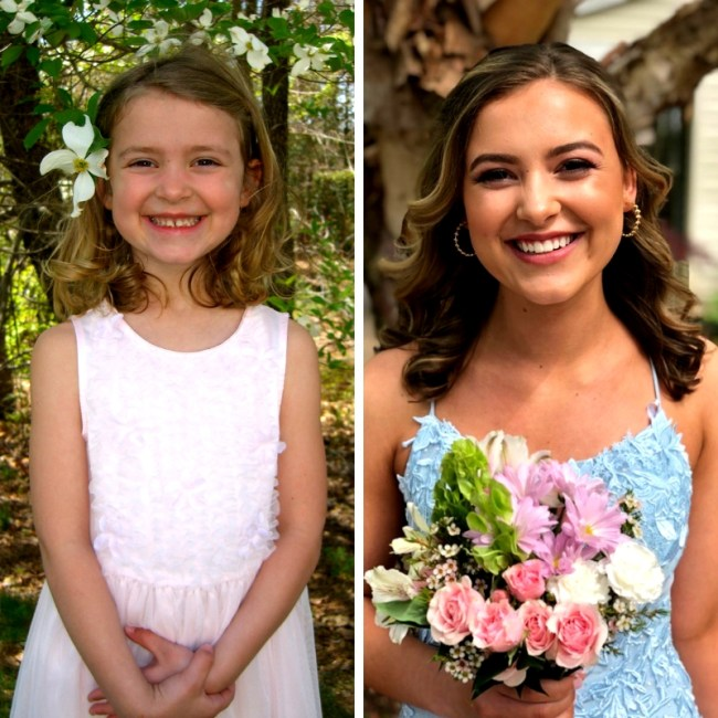 On my daughter's 18th birthday, looking at photos of her then (age 5) and now (from senior prom)