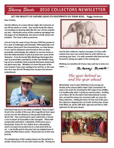 2010 Sherry Steele Newsletter