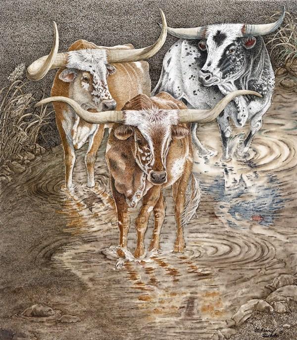 Red River Crossing - Sherry Steele Artwork - Longhorns