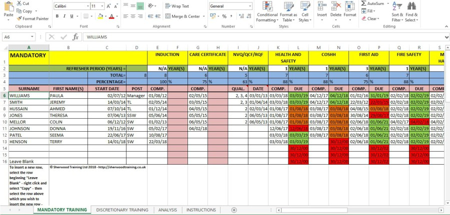 Sherwood Training  Training Matrix System