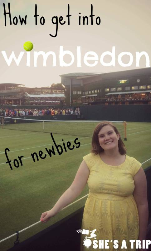 How to get into Wimbledon. Emily standing at Wimbledon courts.