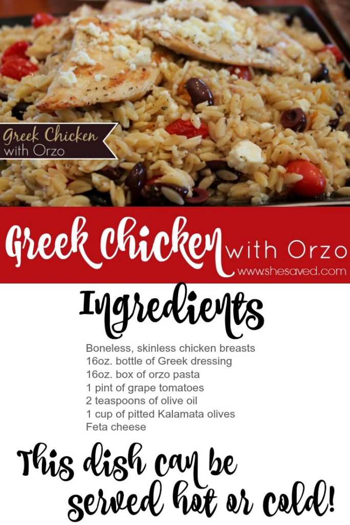This Greek Chicken with Orzo recipe is awesome served both hot and cold, you pick! It's a great dish to make because the leftovers make great lunches too! ~SheSaved