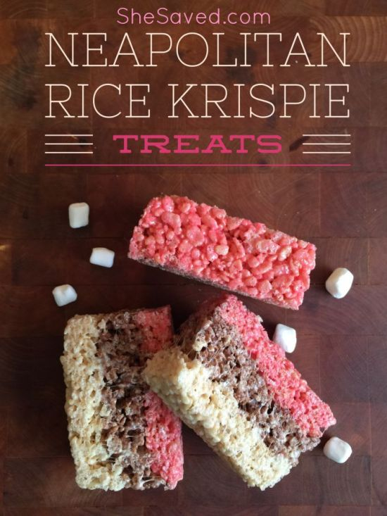 A new twist on an old favorite! Make these fun Neapolitan Rice Krispie Treats, they are delicious and so fun!