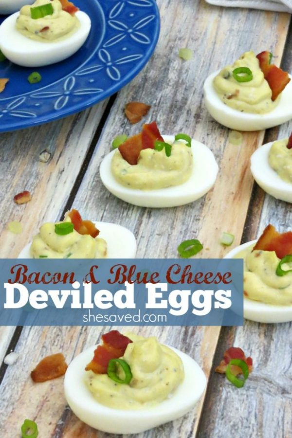 Looking for a new twist on Deviled Eggs? This Bacon & Blue Cheese Deviled Eggs recipe will be a hit at your next gathering, they are so yummy!