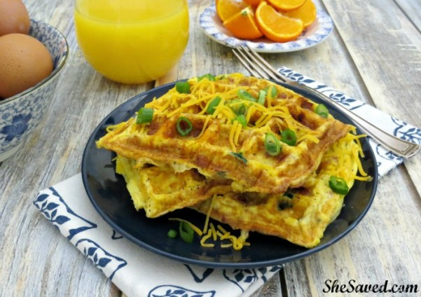 The ultimate Mom Breakfast Hack! Omelet Waffles make a delicious and easy healthy breakfast without the mess!