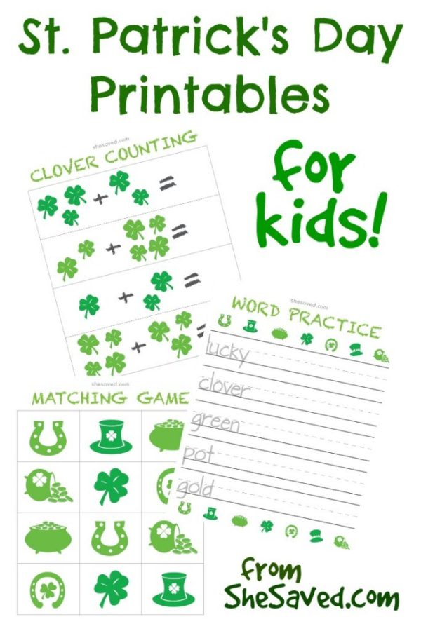 Print out these fun St. Patricks Day Printables for the kids. They can learn while having fun with the addition worksheet, matching game and word practice printables.