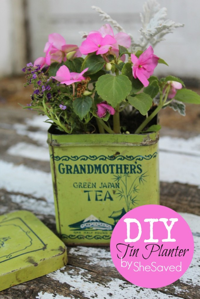 I love to repurpose items and this darling DIY Tin Planter is such a cute way to make an old item useful and decorative at the same time!